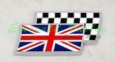 Classic Mini New Union Jack on checkered flag stick on badge