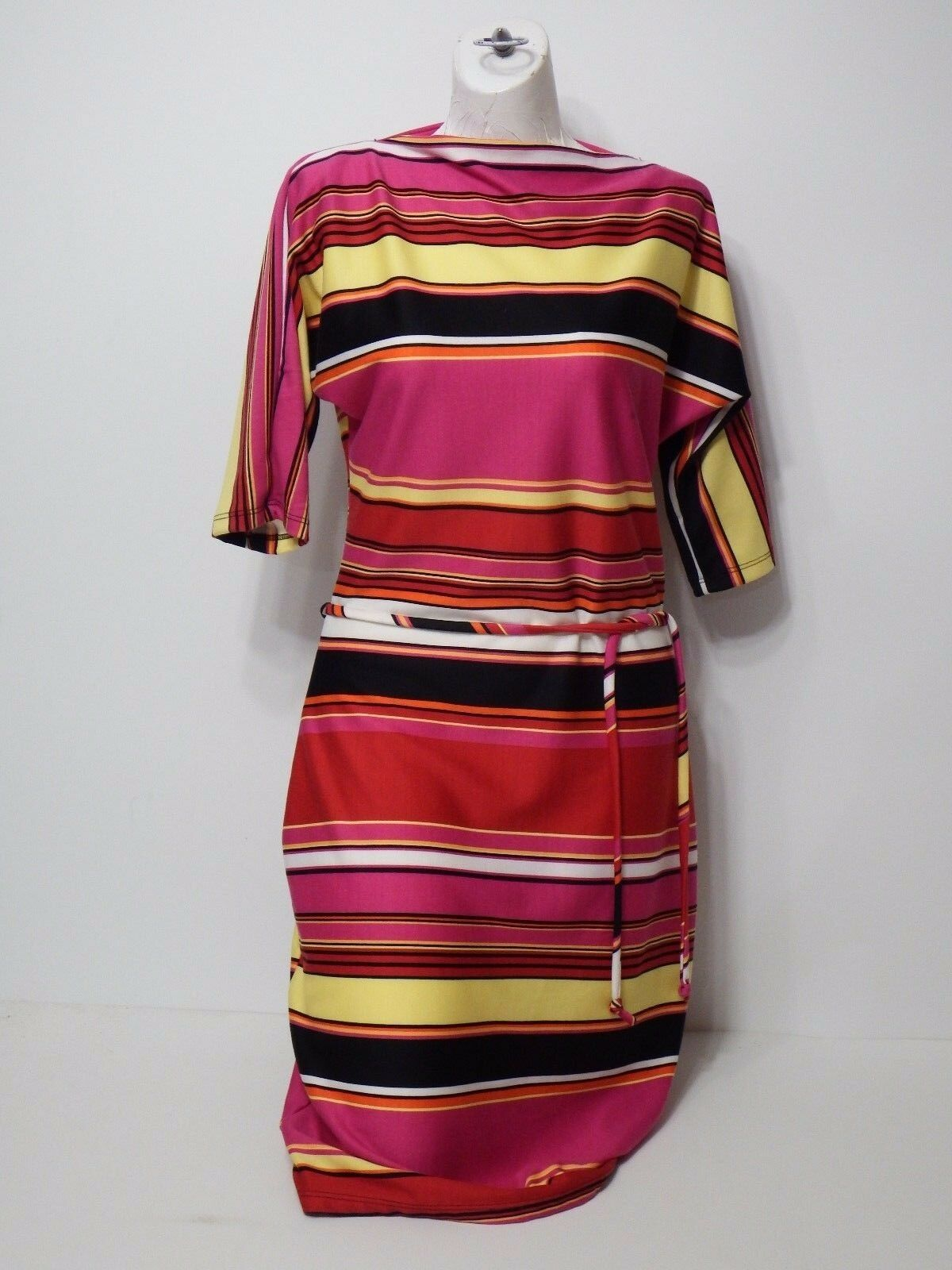 Woman Dress Olivia Matthews Size 10 3 4 Sleeves Pink Multi Wiggle Pencil Striped