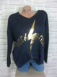 38-40-42-feinstrick-Pullover-Pulli-Tunika-Shirt-Oversize-lurex-Blau-E869-NEU