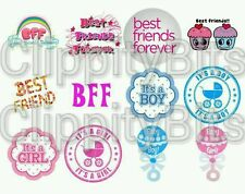"50 x 1"" Inch Pre Cut Bottle Cap Images BBF Best Friends Forever bows Any Mix"