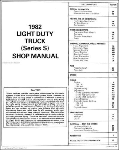 1982 Chevrolet S 10 Pickup Truck Shop Manual Chevy S10 Original Repair Service