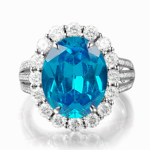 14KT White gold Solitaire 2.15Ct Natural bluee Topaz EGL Certified Diamond Ring