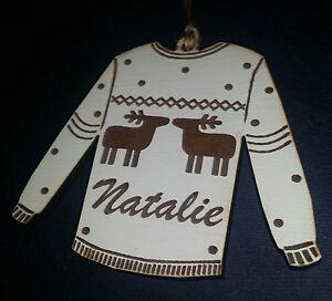 Hand-Made-personalised-Christmas-jumper-bauble-ornament-Reindeer-laser-engraved