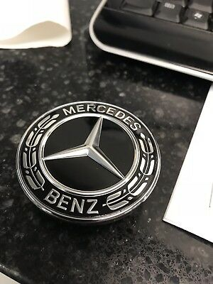 fit for Mercedes Hood Black Flat Laurel Wreath Badge Emblem OEM 0008171701
