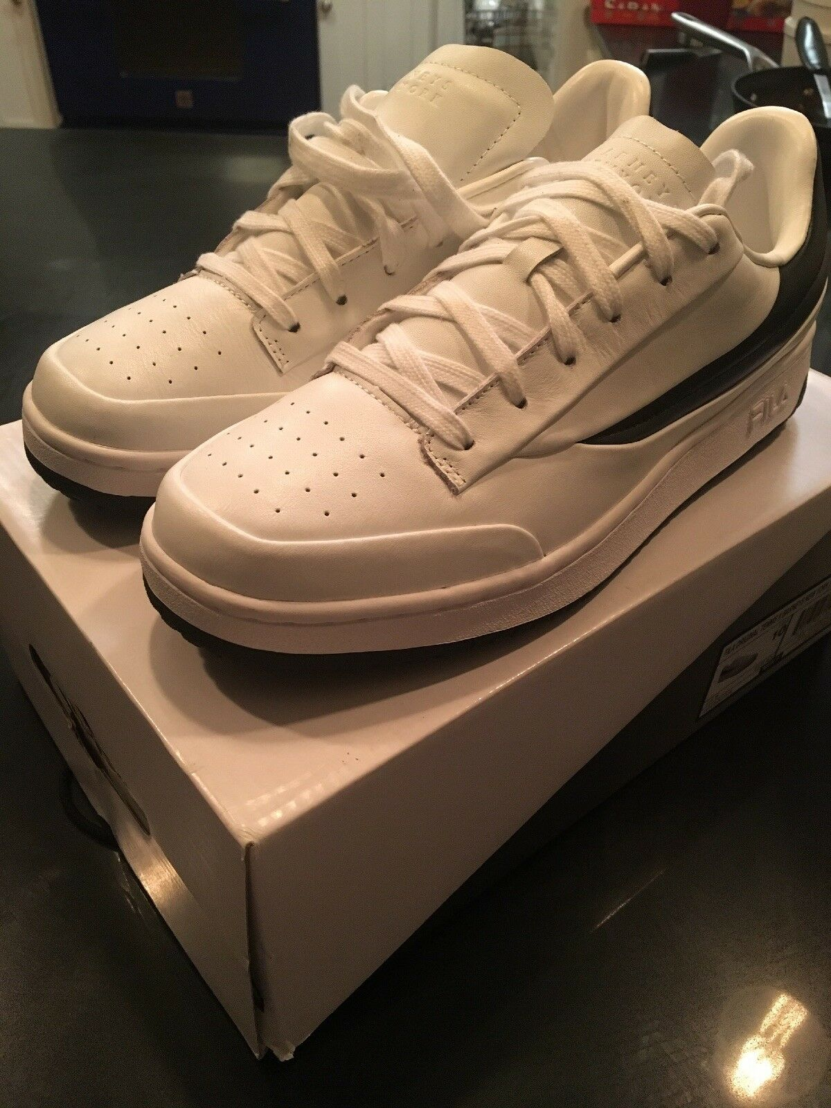Mens white Fila x Barney's New York leather sneakers