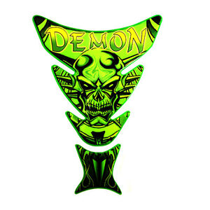 Demon Motorcycle tank pads - protect your petrol tank with attitude - GREEN