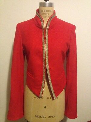 Bird By Juicy Couture Tibetan Red Kings Gold Trim Band Jacket Sz M NWT
