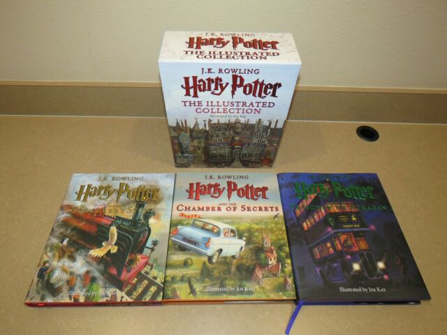 J.K. Rowling Harry Potter The Illustrated Collection Hardcover Books 1-3 Box Set