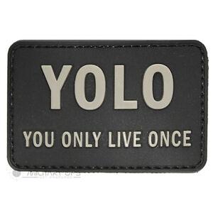 Vinyle-Moral-Patch-Velcro-Panneau-Caoutchouc-You-Only-Live-Once-Yolo-Noir