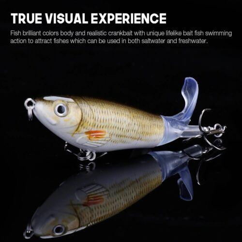VTAVTA 14g 8cm Whopper Popper Fishing Lures Floating Hard Bait Rotating Tail