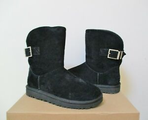 217ee5f2f86 Details about UGG Women's REMORA BUCKLE Boot 7US BLACK Water Resistant  Suede NWB