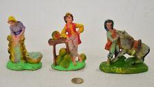 3 Vecchie Statuine Presepe pasta presepio H11 Nardi Confalonieri chialù Rare-1HP