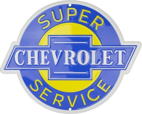 "Chevrolet Super Service Embossed Die Cut Metal 14/"" Circle Sign"