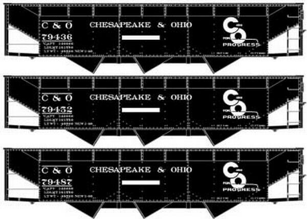 Spur H0 - Accurail 3-Bay Hopper Chesapeake & Ohio 3 Stück -- 8108 NEU