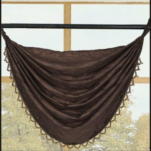 Sherry 2 Chocolate Brown Curtains Panel and 1 Waterfall Valance Set
