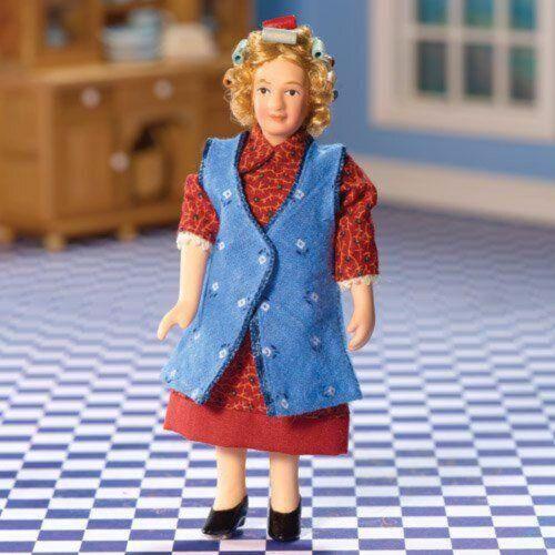 """1//12TH maison de poupées /""""Moderne/"""" Grandma wearing Cheveux Bigoudis"""