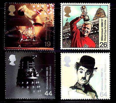 Milennium 4v Gran BretaÑa 1999 2100/03 The Queen/ Charlot Delaying Senility Sellos Tema Cine