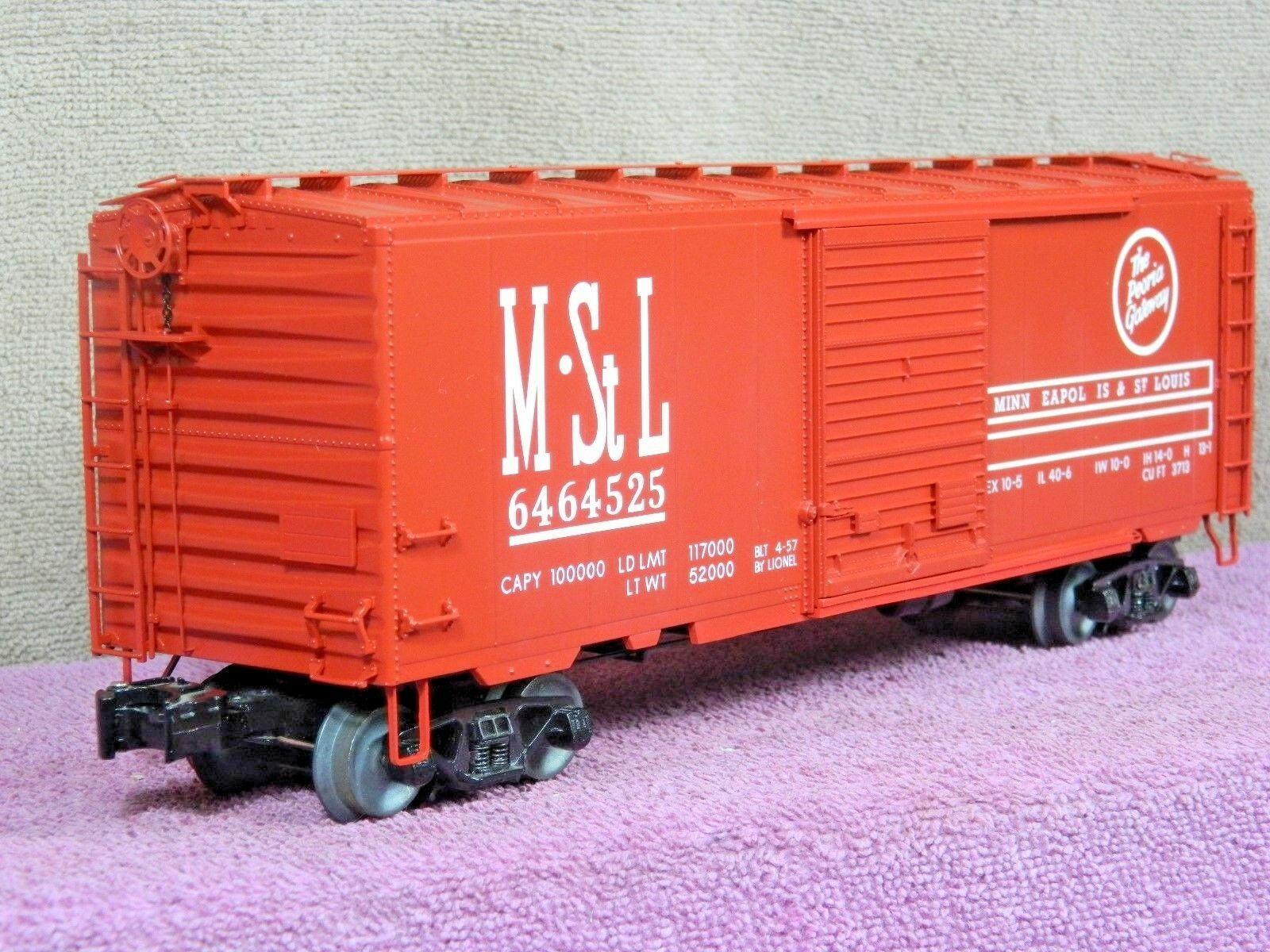 LIONEL O SCALE  6-27292 MINNEAPOLIS & St LOUIS PEORIA WAY  40ft PS-1 BOX CAR NIB