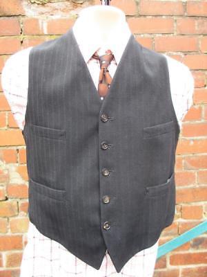 Creativo S 37r-vintage Vero Anni 1950 Uomo Nero Stripe Lana Gilet Panciotto Suit-c966-mostra Il Titolo Originale