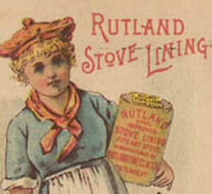 1880's RUTLAND STOVE LINING TRADE CARD PRETTY LADY HOLDING CAN TC253