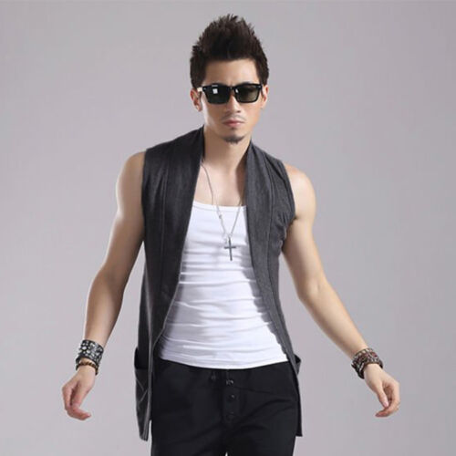 Korean Homme sans manches Slim Fashion Vestes Casual Summer Tops Manteau 4 couleurs J
