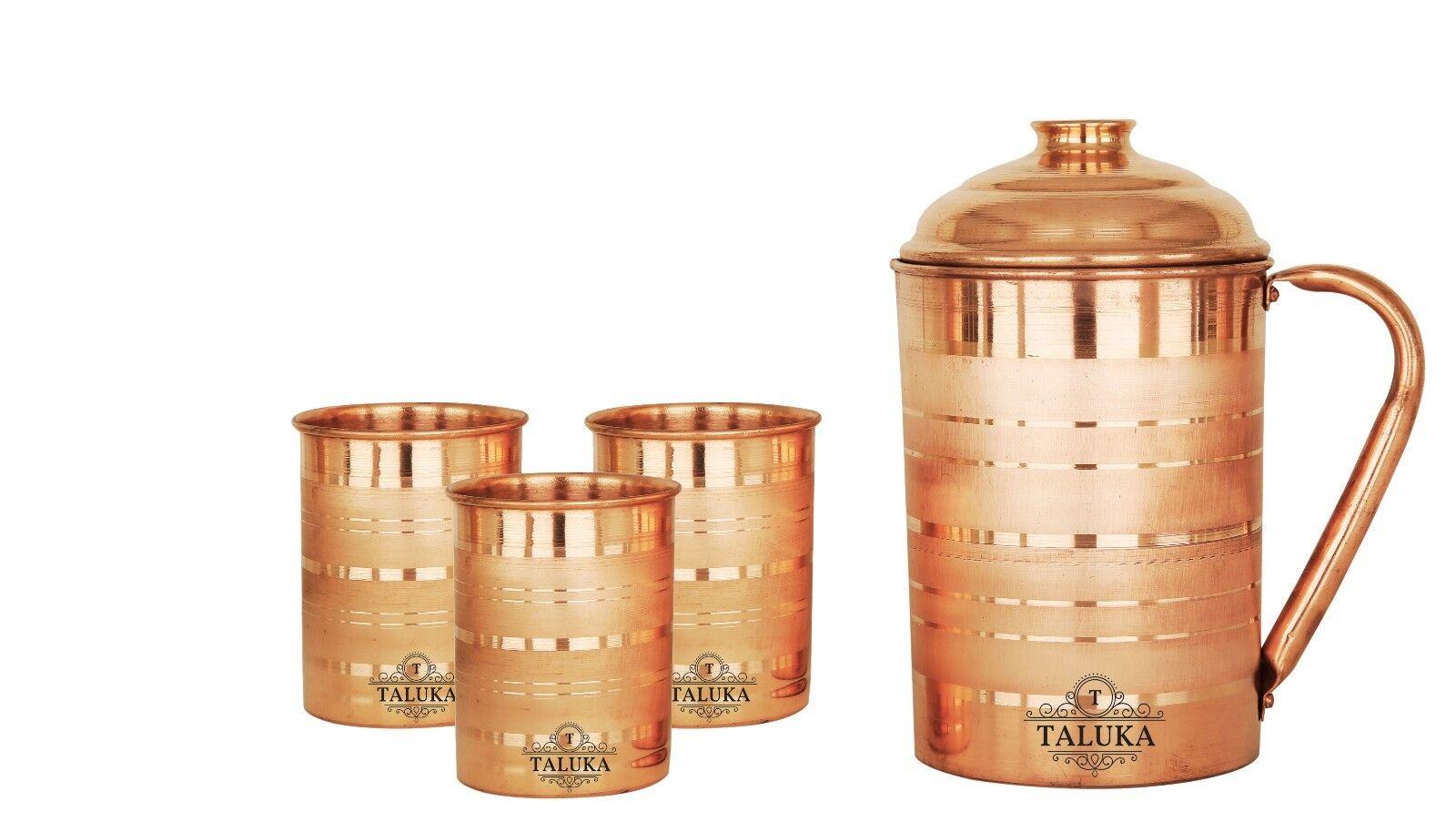 Taluka Handarbeit Kupferkrug Krug 57 Unze mit 3 Kupferglas Wasser Trinkgefäße
