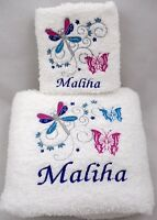 Personalised Ladies Embroidered White Towel Set - Butterfly & Dragonfly design