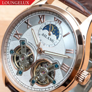 Mens-Double-Flywheel-Leather-Luxury-Bling-Skeleton-Automatic-Mechanical-Watch