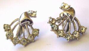 Boucles D'oreilles à Vis Bijou Vintage Couleur Argent Cristaux Diamant 3452