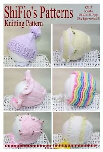 KNITTING-PATTERN-for-6-HATS-FOR-BABY-113-NOT-CLOTHES