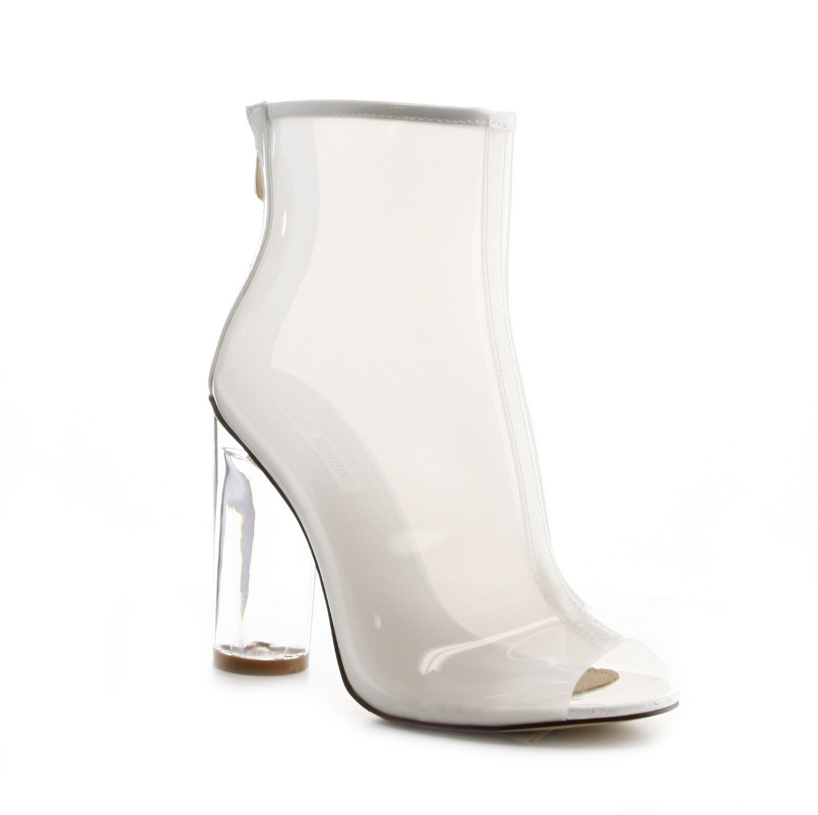 Cape Robbin Women Peep Toe Lucite Chunky Heel Ankle Bootie White Size 8.5