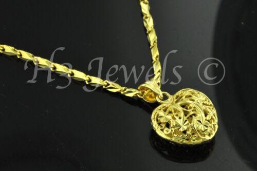 3-d  18k solid yellow gold pop heart pendant filigree h3jewels #1075  2.10 grams