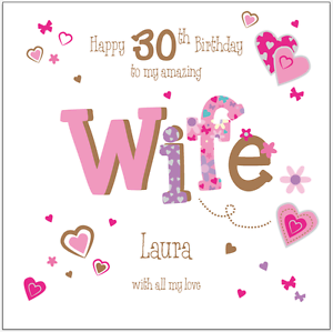 Image Is Loading Personalised 30th Birthday Card Wife Girlfriend Any Age