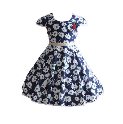 Cinda Girls Dotted Party Dress in Dark Blue White 3 4 5 6 7 8 Years