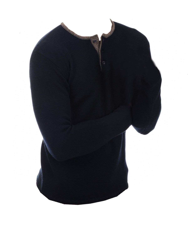 Balldiri 100% Cashmere Herren Polo 6-fädig  nachtblau-graubraun M