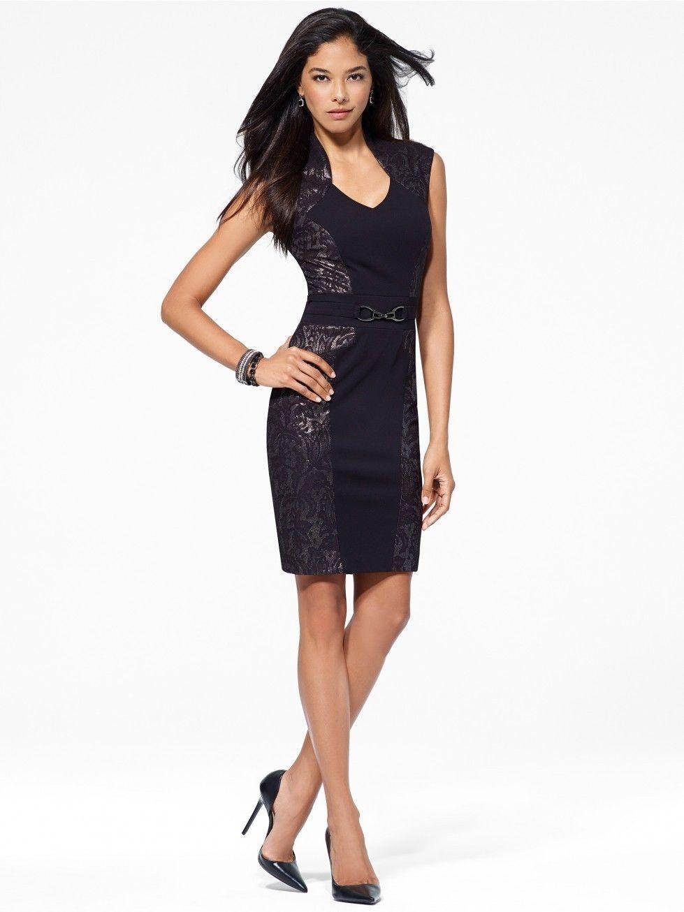 NWT Sexy CACHE schwarz Dress BODY MAPPING Thick Stretch LBD   S-2  M-6  XL-14