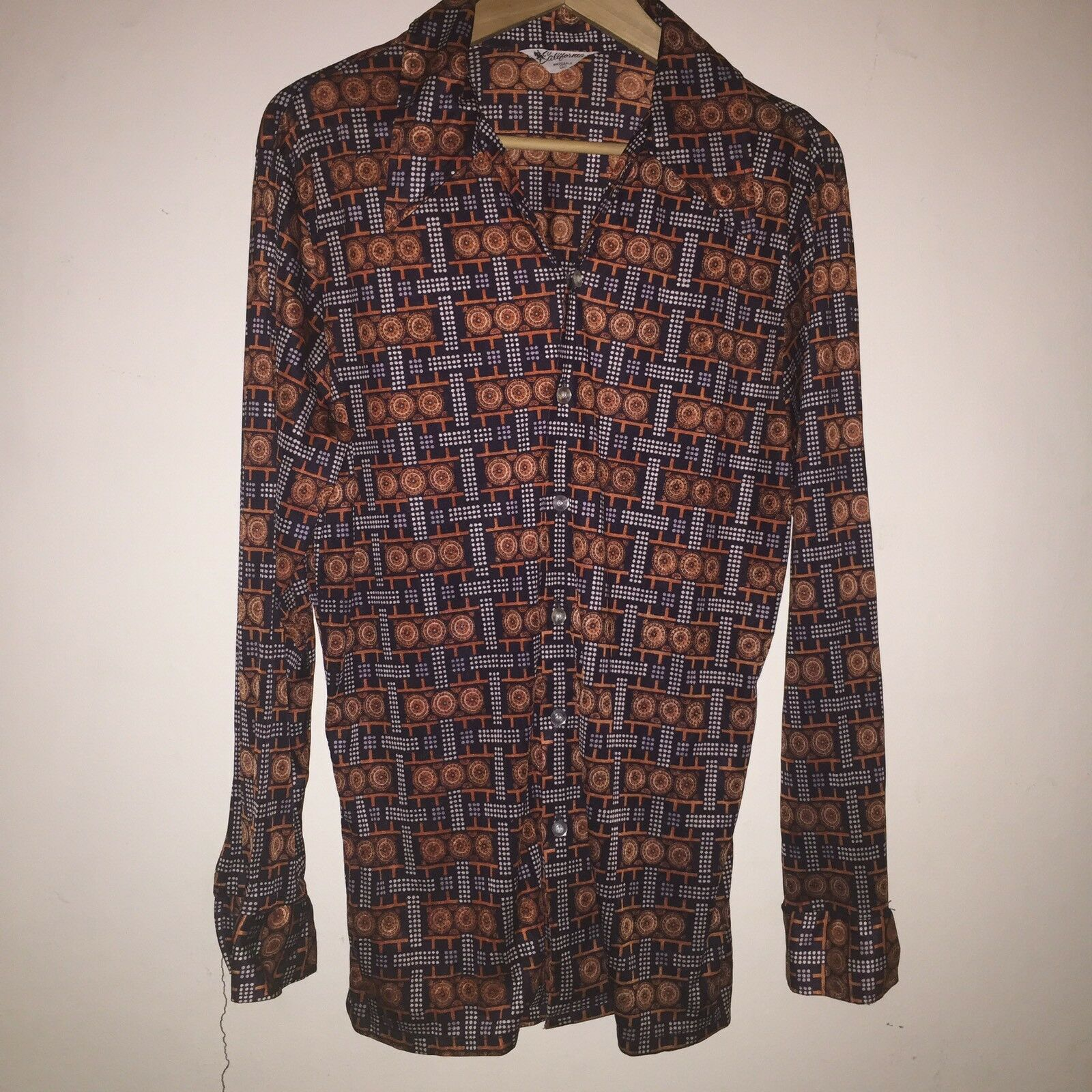 Mens 70s Polyester Button Down Shirt by California L Brown orange Pattern