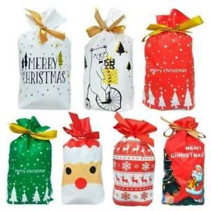 10-pcs-Christmas-Sacks-Reusable-Drawstring-Wrap-Present-Gift-Party-Bags-Storage