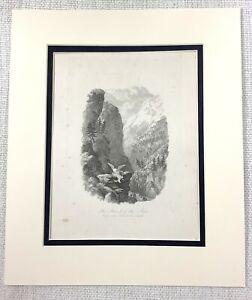 1843 Antico Stampa Aquila Caccia Ibex Deer Landscape Old 19th Secolo Incisione