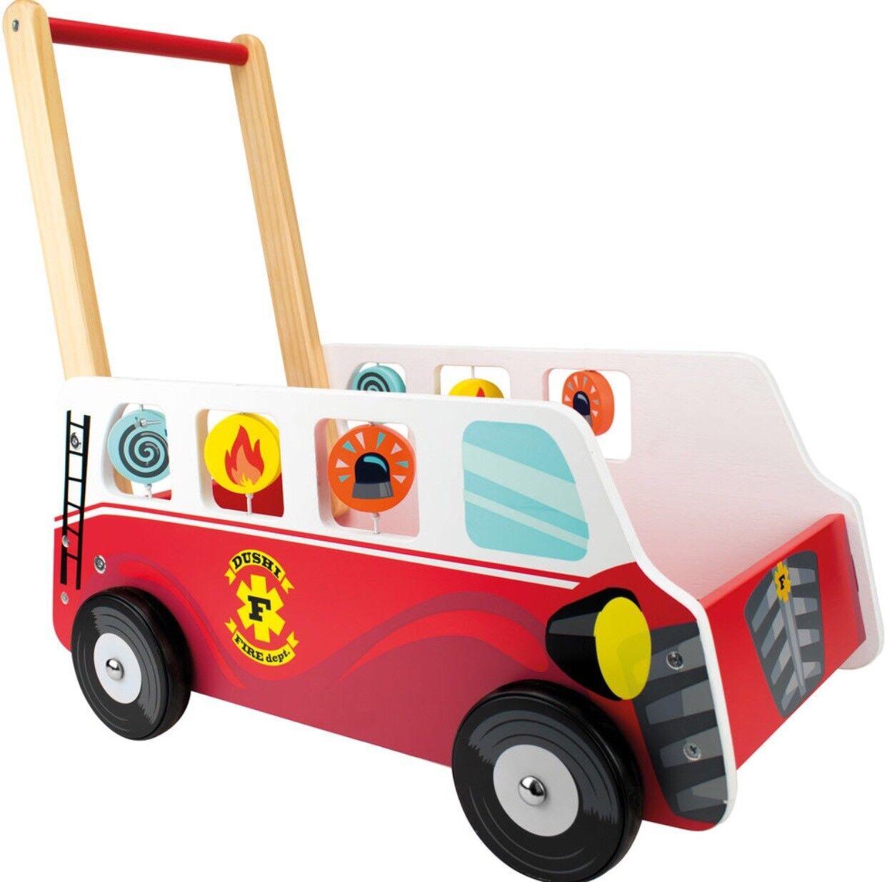 DUSHI Wooden Push Car Fire Bus 12m+ Brand New