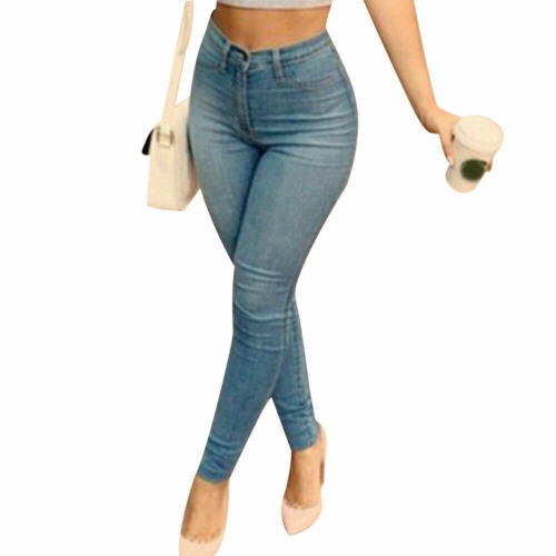 Womens Skinny Denim Pants Ladies High Waist Stretch Casual Jeans Pencil Trousers