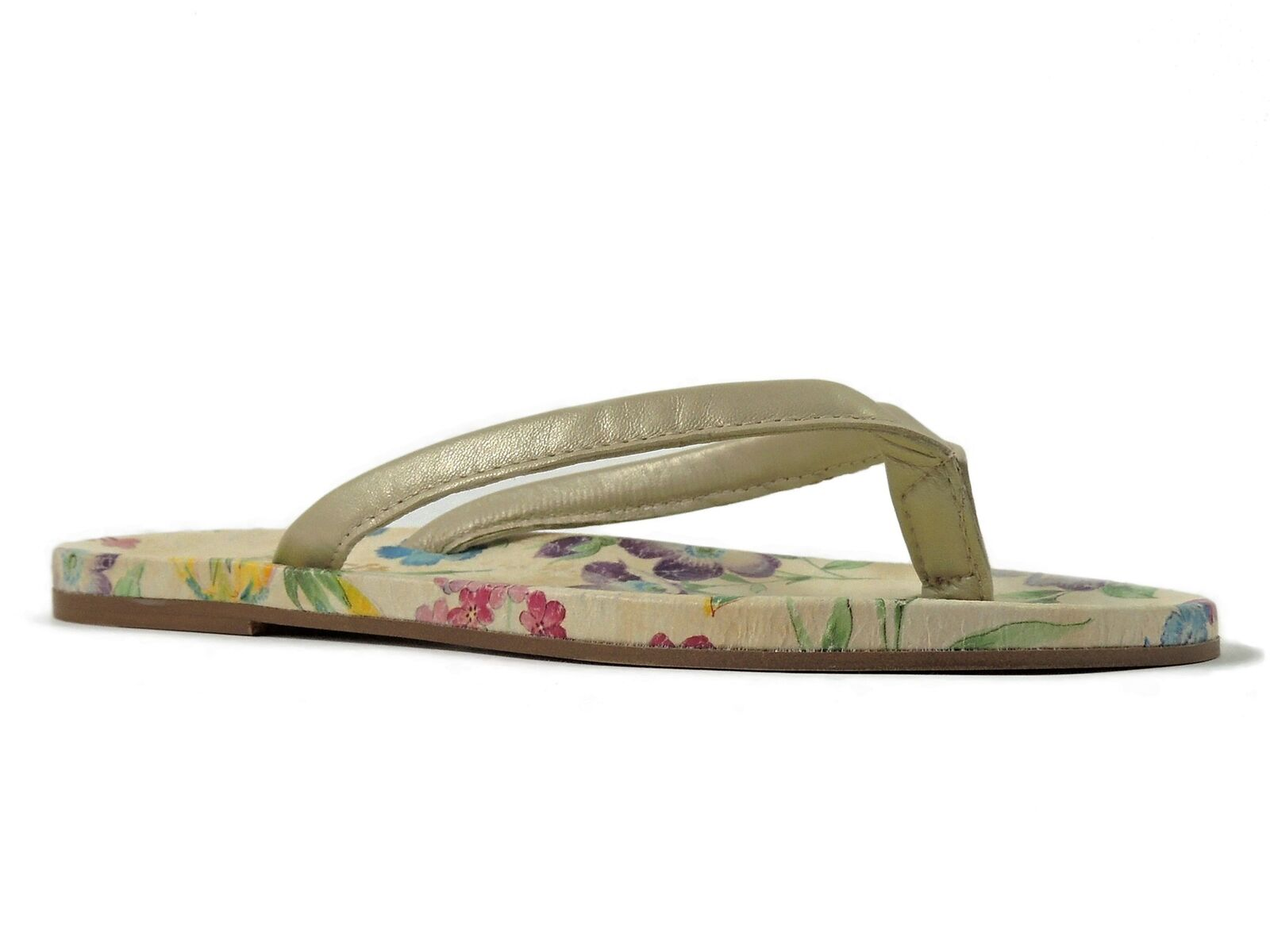 Easy Spirit Women's Lily Flower Thong Sandal Floral Cream Leather Size 6 M
