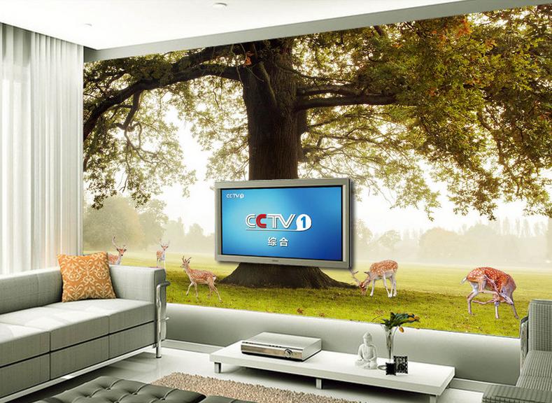 3D Großer Baum Hirsch 7 Tapete Wandgemälde Tapete Tapeten Bild Familie DE Summer