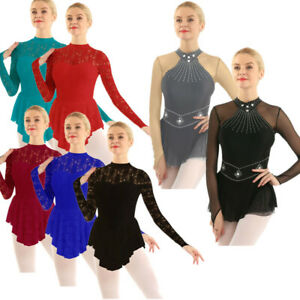 Womens-Adult-Ballet-Dress-Long-Sleeve-Lace-Dance-Gymnastic-Leotard-Dress-Costume