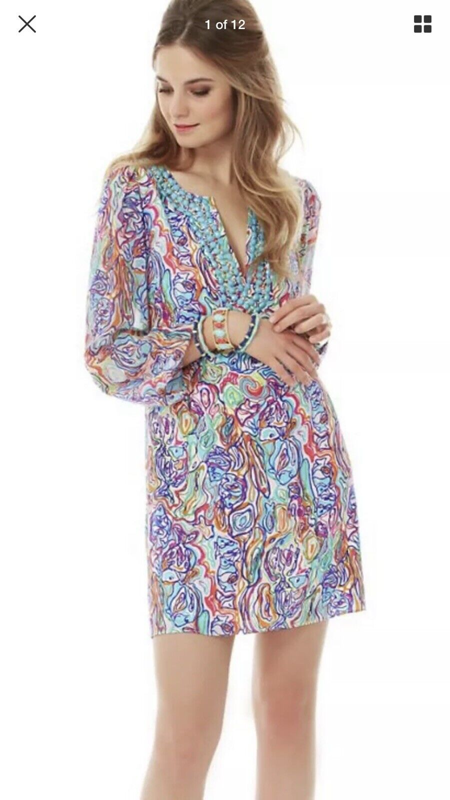 1. Lilly PULITZER SAEMUS Silk BEADED Dress WHAT A CATCH CATCH CATCH Print FISHES Size 6 New 76b533
