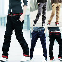 Fashion Men's Luxury Straight Casual Slim Fit Long Cotton Pants Skinny Trousers