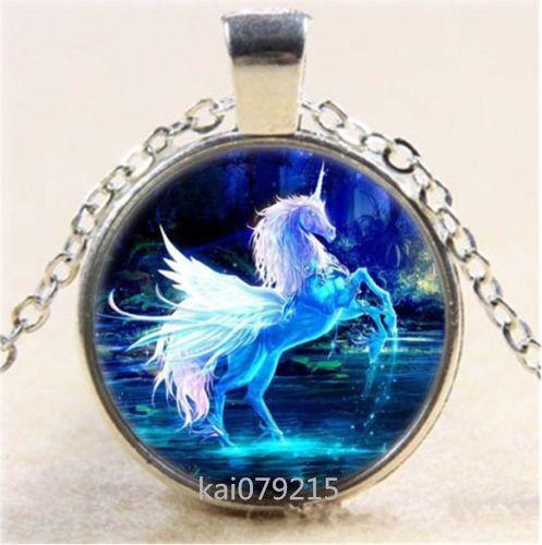 Vintage Horse Cabochon Tibetan silver Glass Chain Pendant Necklace
