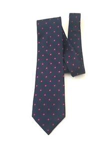 Luxurious-Charles-Tyrwhitt-Men-039-s-Silk-Neck-Tie-Dark-Navy-Blue-w-Pink-Polka-dot