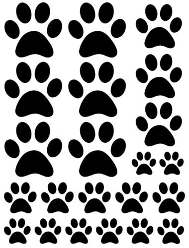 3 sheets total of 66 pieces DOG CAT VINYL WALL DECAL STICKER BLACK PAW PRINTS