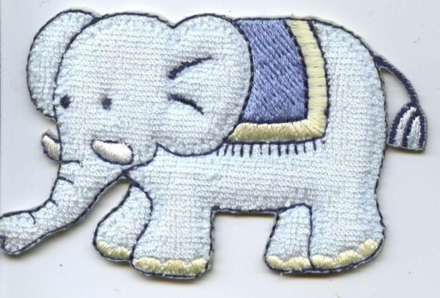 Iron On Embroidered Applique Patch Childrens Terry Blue Elephant Baby 155042A